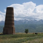 Burana Tower (11th century, Soviet reconstruction), north-central Kyrgyzstan